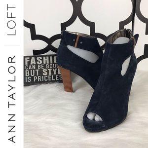 Ann Taylor LOFT Blue Heeled Booties